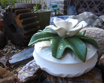 Magnolia blossom covered dish