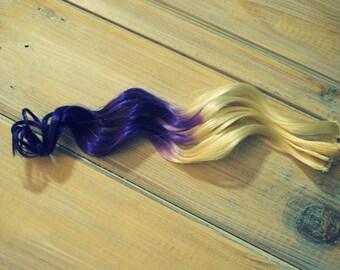 Purple Raven Reverse Ombre Hair Extensions, Purple Ombre clip in hair extensions, Dark Tip Hair Extensions