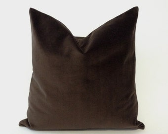 Decorative Pillow Cover-Chocolate Brown  16x16 TO 26x26 Medium Weight Cotton Velvet - Invisible Zipper Closure- - Knife Or Piping Edge