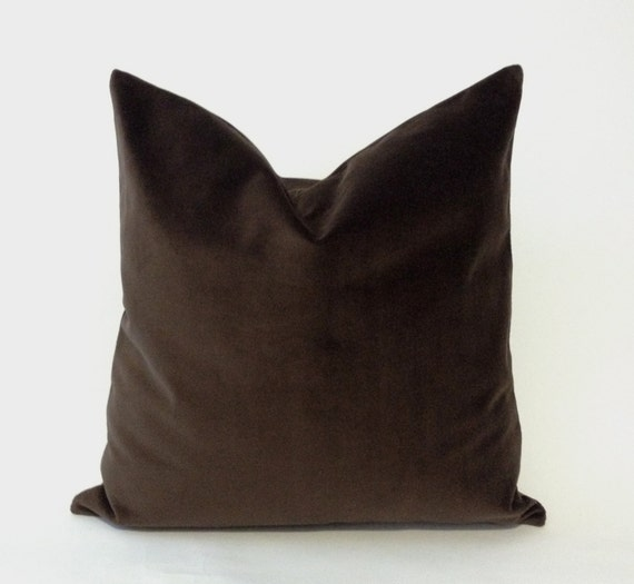 Chocolate Brown Cotton Velvet Pillow Cover - Decorative Accent Throw Pillows -Invisible Zipper Closure -Knife Or Piping Edge -16x16 to 26x26