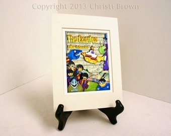 The Beatles Yellow Submarine Fan Art Print Matted 11 x 14 inches