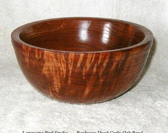 Lathe Turned Bordeaux Dyed Curly White Oak Wooden Bowl No.125  Artist Signed
