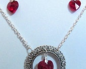 Siam Swarovski Heart Circled by Antique Silver Hearts Necklace and Earrings Set