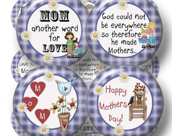 """Mother, Mom Sayings, Digital Collage Sheet, Bottle Cap Images, 1 Inch Circles, Printable, Instant Download (No.1) 1"""" Circles, Mothers Day"""