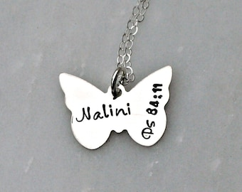 Personalized Necklace - Butterfly Necklace - Hand Stamped Necklace - Three Little Pixies