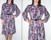 Vintage Secretary Dress / Midi Asian Oriental Mandarin Collar 70s 80s Abstract Unique  Print Pattern Puff Sleeve / Bust 40 / L XL
