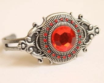 Ruby Red Gem Edwardian Victorian Art Nouveau Ornate Oxidized Antiqued Silver Metal Ladies Cuff Bracelet
