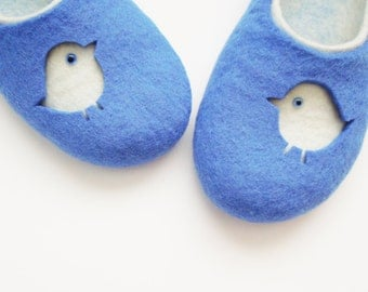 Felted woman slippers SPARROW