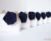 Nautical Wedding ideas/  6* Navy Blue Bridesmaid gifts with chains / choose your own initial option