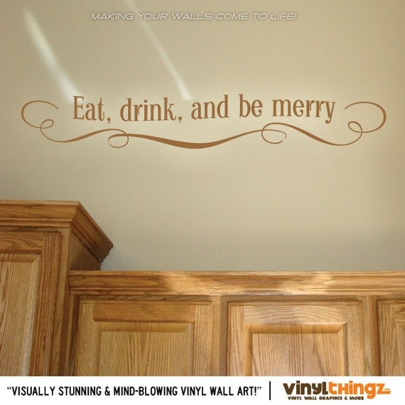 Eat Kitchen Decor Wall Decal : Eat drink and be merry wall decal kitchen by vinylthingzwalls