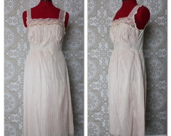 Vintage 1950's Penny's Adonna Romantic Light Pink Peignoir Nightgown Medium 34