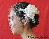 "Bandeau 906 -- ""PEONY"" VEIL SET w/ Flower Feather Fascinator Hair Clip & Ivory or White 9"" Birdcage Blusher Veil for bridal wedding"