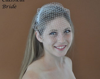MINI FRENCH BIRDCAGE Blusher 6 Inch Veil in White or Ivory for bridal wedding accessories headpiece