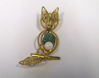 Vintage Green Gemstone Faux Pearl Owl Brooch Pin, Gold tone Owl Brooch, Signed Japan