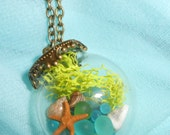 Sea Glass Terrarium Orb Pendant Filled with Green, Blue & Seafoam Sea Glass, a Tiny Little Starfish, Seashells and Moss