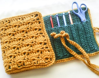 Green and Gold Travel Case - Crochet Hooks Available - Crochet Hook Organizer - Water Lily Art Supply Case