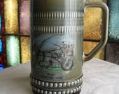 Vintage Tall Irish Stein Made in Ireland Horse Driven Jaunting Car Wade Porcelain Green Blue