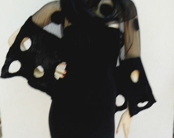 Nuno Felted scarf  wool and silk Black holiday shawl