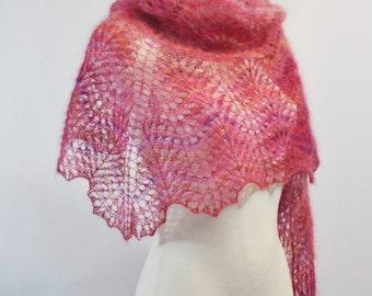 Hand Knit Lace Shawl, Triangle Lace Shawl, Triangle Knit Shawl, Pink Hand Knitted Lace Shawl