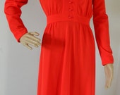 Vintage 1970s Butte Knit Red Maxi day dress V Neck