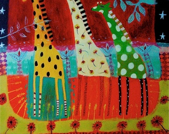 Giraffes art print - limited edition giclee on paper/ whimsical animal art/children's  decor/happy art