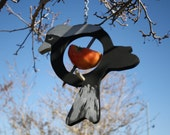 Hanging bird style fruit bird feeder in black and silver head