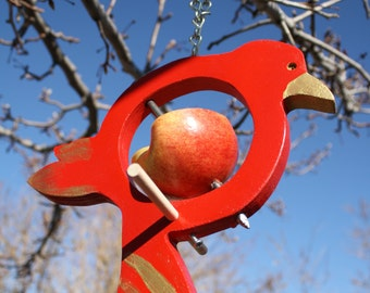 """Hanging Bird Style Fruit Bird Feeder Displaying Red and Gold 49er colors """"FREE SHIPPING""""  Feed the bird fruit and /or suet"""