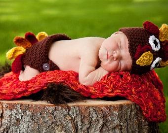 Turkey Hat and Diaper Cover Set Newborn Photo Prop Fall Autumn Thanksgiving Crochet Newborn Thanksgiving Outfit