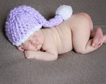 Purple Stocking Hat Newborn Photo Prop Pastel Soft Lavender White Fuzzy Trim Pom Pom Long Tail Elf Cap Baby Girl