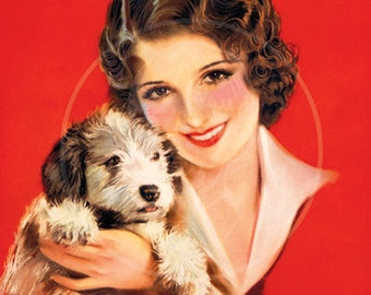 Woman with Dog - 10x13 Giclée Canvas Print of Vintage Pinup