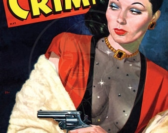 Women in Crime (May 1949) - 10x14 Giclée Canvas Print of a Vintage Pulp Detective Magazine Cover