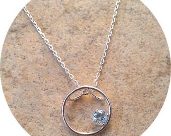 Genuine Aquamarine (March Birthstone) circle necklace