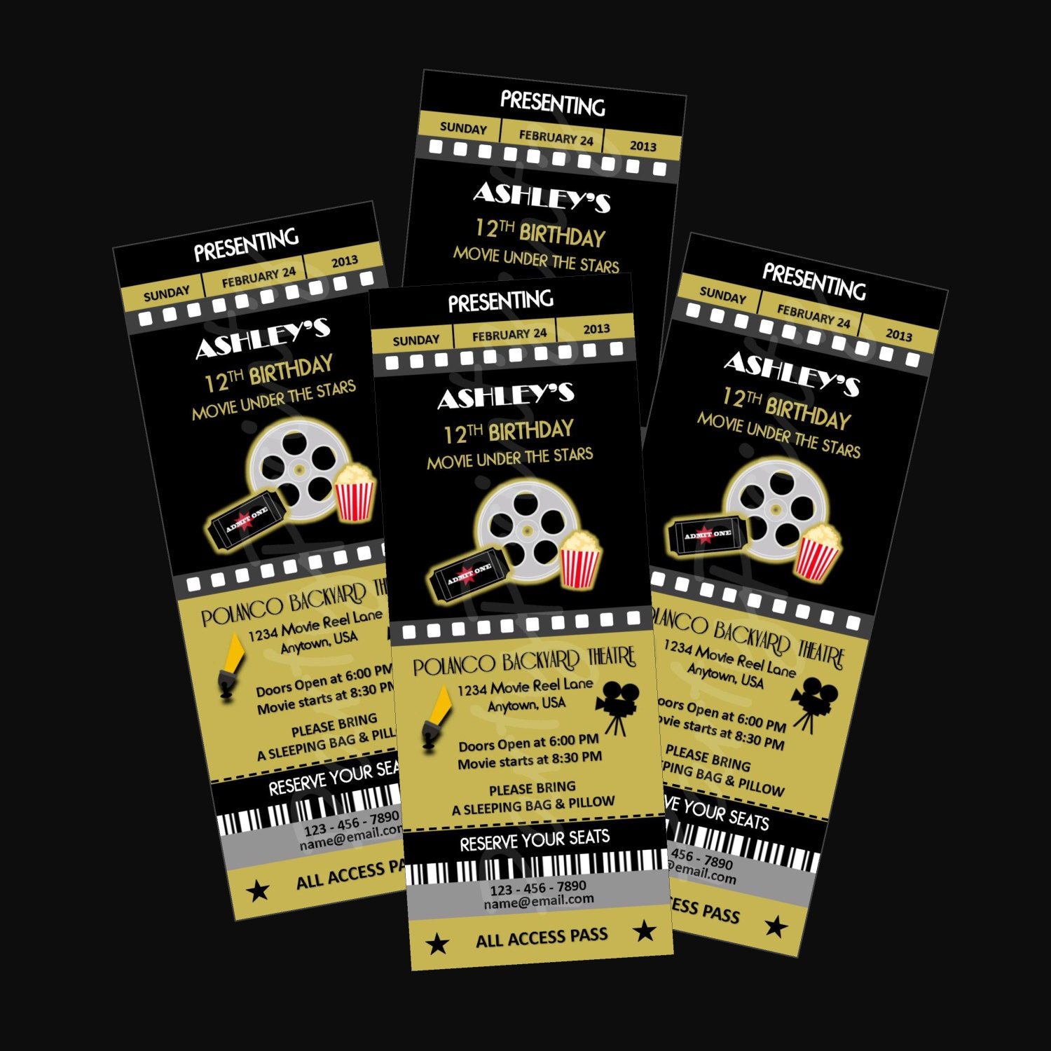 printable movie night party ticket invitations personalized
