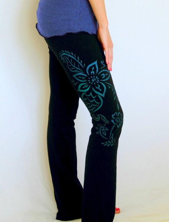 Yoga Pants Black Sizes S-XL Hand Painted Womens Yoga Clothing