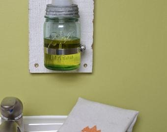 Barn Board Wall Mount Ball Jar Foaming Soap Dispenser, Aqua or Clear in Pint Quart or Half Gallon