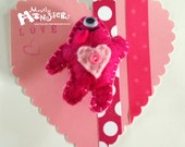 Feltie Pins LOVE Monster with free card & envelope