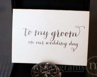 Wedding Card to Your Groom on Your (Our) Wedding Day- Groom Gift for Wedding Day - To My Groom Keepsake Thank You Card - CS02