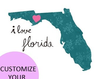 Florida Map Illustration size A4 (11,8x8,3 inches)