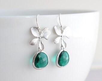 30% OFF, Orchid and Emerald Silver Earrings, Green earrings, Clip earrings, Wedding jewelry, Bridal earrings, Flower earrings,Christmas gift