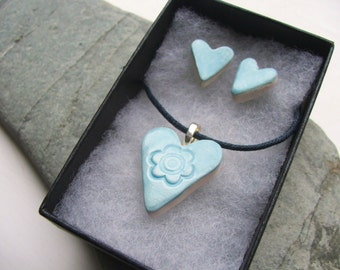 Ceramic Heart Pendant Necklace and Stud Post Earring Set, Turquoise Blue, Valentine's Day, Romantic Jewellery