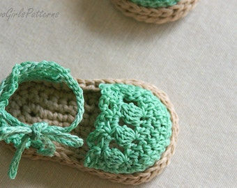 CROCHET PATTERN # 119 -  Baby Girl Espadrille Sandals - Instant Download pdf - baby sandal pattern - baby shoe crochet pattern L