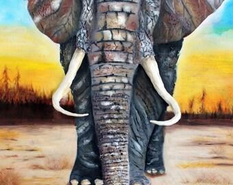 African Elephant painting,elephant art,modern elephant art,impressionist,impasto,3d,textured,home decor,ganesh,ganesha,india,africa,sahara