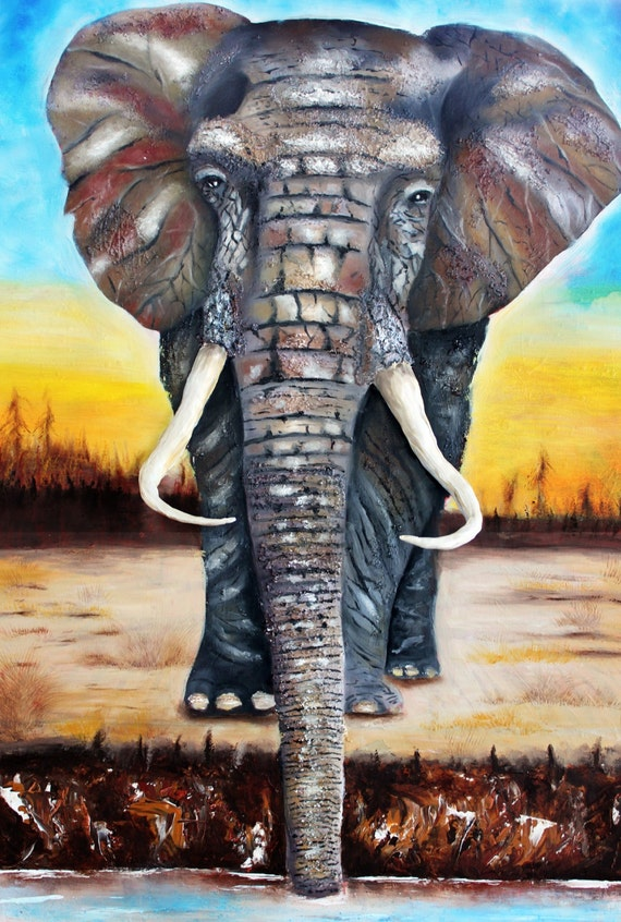 African elephant paintingelephant artmodern by tarasarthouse African elephant home decor