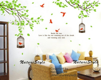 Branch with Flying Birds and birdscage -Vinyl Wall Decal,Sticker,Nature Design wall decal tree decal nursery baby wall decal birthday decal