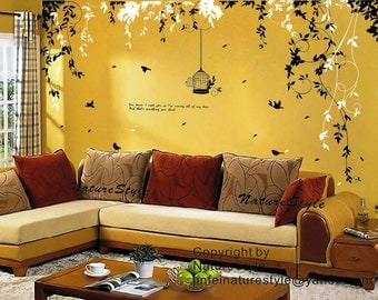 Abstract Flowers with Birds-wall decal branch with flying birds vinyl baby wall decal nursery tree decal branch decal wedding wall decal
