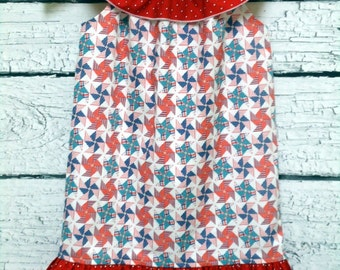 Girls 4th of July Dress Ruffle Neck Pinwheel Red Stars - Size 4T - Ready to Ship