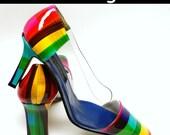 vintage // 90s j renee rainbow stripe leather clear side heels shoes 8.5