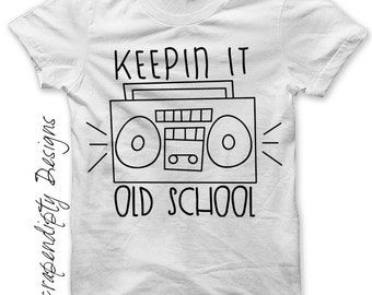 Rock and Roll Iron on Transfer - Boombox Shirt / Kids Boys Clothes / Keepin it Old School Tshirt / Baby Ghetto Blaster Shirt IT171