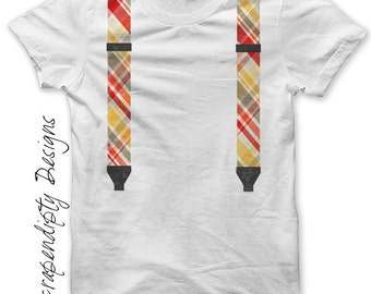 Suspenders Iron on Shirt PDF - Boys Iron on Transfer / Toddler Suspenders Shirt / Baby Geek Clothes / Red Kids Suspenders Clothing IT211-R