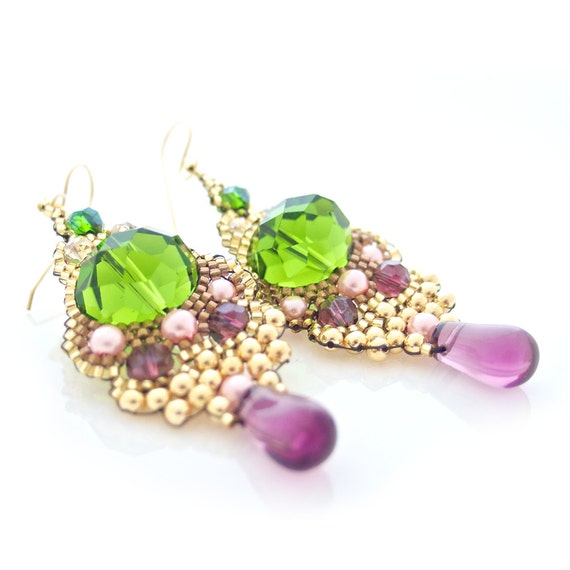 Skull Earrings, Beaded Earrings, Green Crystal Earrings, Amethyst Teardrop Earrings, Pearl Earrings, Statement Earrings